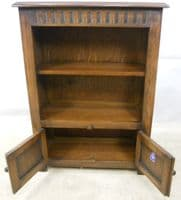 SOLD - Small Standing Open Oak Bookcase by Old Charm